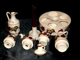 Ceramic Oil, Vinegar, Mustard, Salt, and Pepper on a Caddie AA19-1640 Vintage image 6