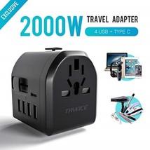 Travel Adapter 2000W Universal Power 4 USB TypeC Charging Ports EU/UK/US... - $17.72
