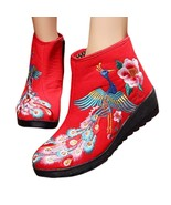 Colorful Phoenix Vintage Beijing Cloth Shoes Embroidered Boots red 35 - $38.99