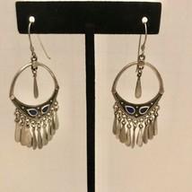 Vintage Stamped Sterling Silver Dangle Hook Earrings J6524 - $37.99