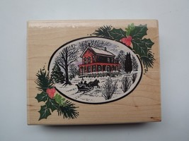 1994 White Christmas R008 rubber stamp by Stampendous House Horse Sleigh Holly  - $9.49
