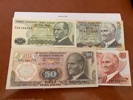 Turkey lot of 4 uncirc. banknotes - $13.95