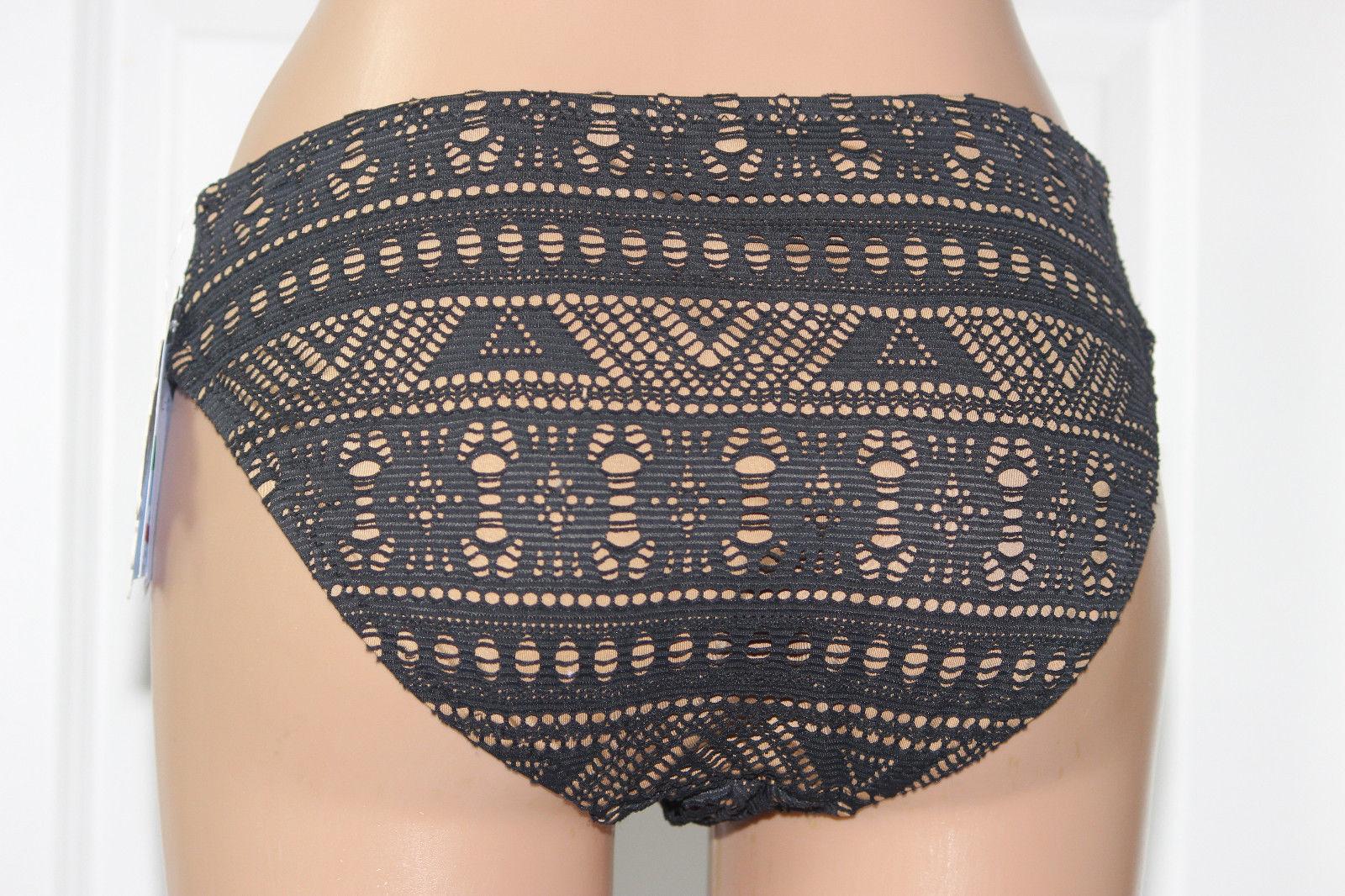 NEW Becca Rebecca Black Crochet La Boheme Ruched Tab Side Hipster Bikini L Larg