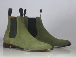 Handmade Men's Green Suede High Ankle Chelsea Boots image 5