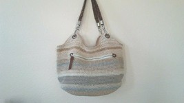 The Sak Crochet Bag - Beige Stripe - Braided Shoulder strap - Medium siz... - $19.99