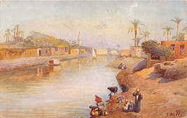 NILE RIVER EGYPT WOMEN FILLING JUGS WITH WATER~L ZULLO ARTIST SIGNED POS... - $6.29