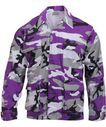Mens Purple Camouflage Military BDU Shirt Tactical Uniform Army Coat Fat... - $27.99+