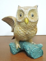 Two Vintage Brown Horned Owls Perched On Leaves & Berries Limb Figurines image 2