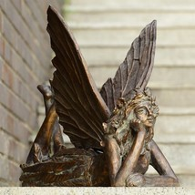 Whimsical Large Fairy at Rest Sculpture Home Patio Garden Statue,19.5''L... - $165.00