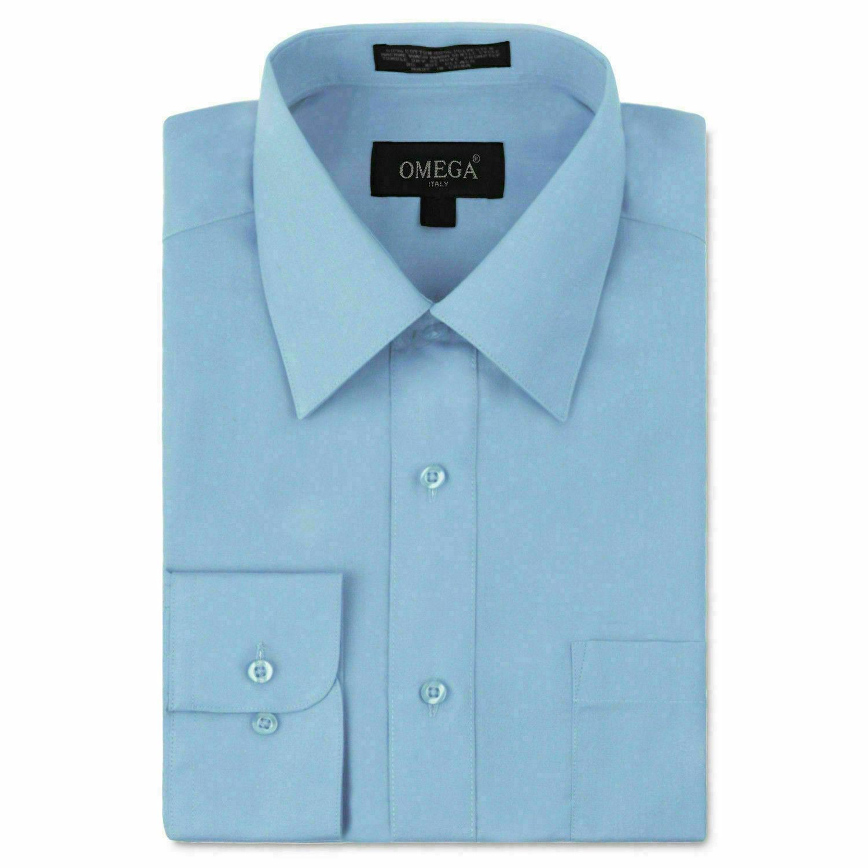 Omega Italy Men's Long Sleeve Solid Regular Fit Light Blue Dress Shirt - 4XL