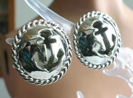 "Fabulous Anchor Silver-tone Clip Earrings 1970s vintage 1 1/4"" - $12.30"