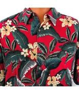 Campia Moda Hawaiian Aloha XL Hibiscus Leaves Burgundy Green Shirt Rayon - $39.59