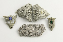ESTATE VINTAGE Jewelry LOT OF ART DECO ERA RHINESTONE BROOCHES BUCKLE & ... - $20.00