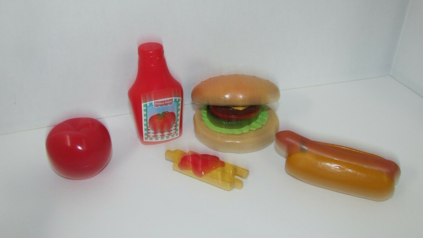 Fisher Price Fun with Food play build a burger fries ketchup apple set hot dog