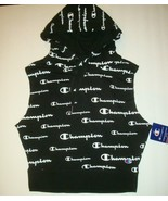 New Champion Women's Campus Sleeveless Hoodie Sweatshirt Black with Whit... - $35.63