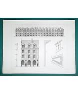 ARCHITECTURE PRINT 1864 - PARIS France Place Dauphine Facade Plan Details - $22.46