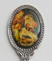 Collector Souvenir Spoon Christmas 1998 Nativity Scene Jesus Mary Angel ... - $4.99