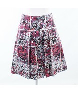 Navy blue red floral print cotton blend TIMO. WEILAND pleated skirt 4 - $44.99