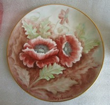 BAREUTHER BAVARIA Porcelain PLATE HAND PAINTED POPPY ANEMONE Artist SIGN... - $19.75