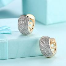 Gold Plated Huggie Hoop Earrings With Swarvoski Crystal Detail  - Fashion Basics - $9.79