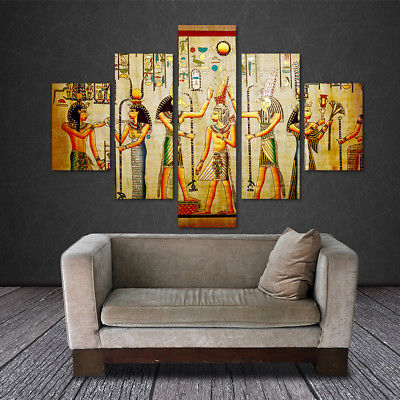 Large Framed Egyptian Hieroglyphics Ancient Canvas Print Wall Art Home Decor