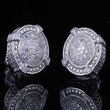 Women's Stud Earrings 14k White Gold Plated 925 Silver Round Cut Cubic Zirconia - $95.80