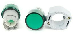 LOT OF EAO 704.950.0 LAMP SOCKETS W/ 704.950.5 MOUNTING FLANGES GREEN LENSES image 3