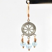 Earrings Silver 925 Laminated Gold Pink with Aquamarine image 2
