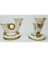 Vintage Abingdon Double Candlesticks Candle Holders Roses Gold Rimmed - $19.79