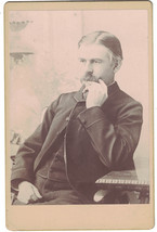 Vintage Cabinet Photo of Man Sitting/Thinking w/ Name & Date 1800s - $8.60