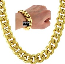 "Hip Hop 14K Gold Plated 20mm Cuban Link 36"" Chain Necklace & 8.5"" Bracel... - $23.36"