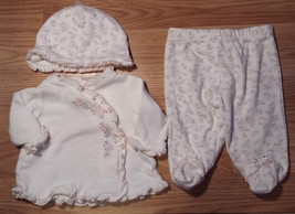Girl's Size NB Newborn 3 Pc Little Me Cream Floral L/S Top, Footed Pants... - $25.00