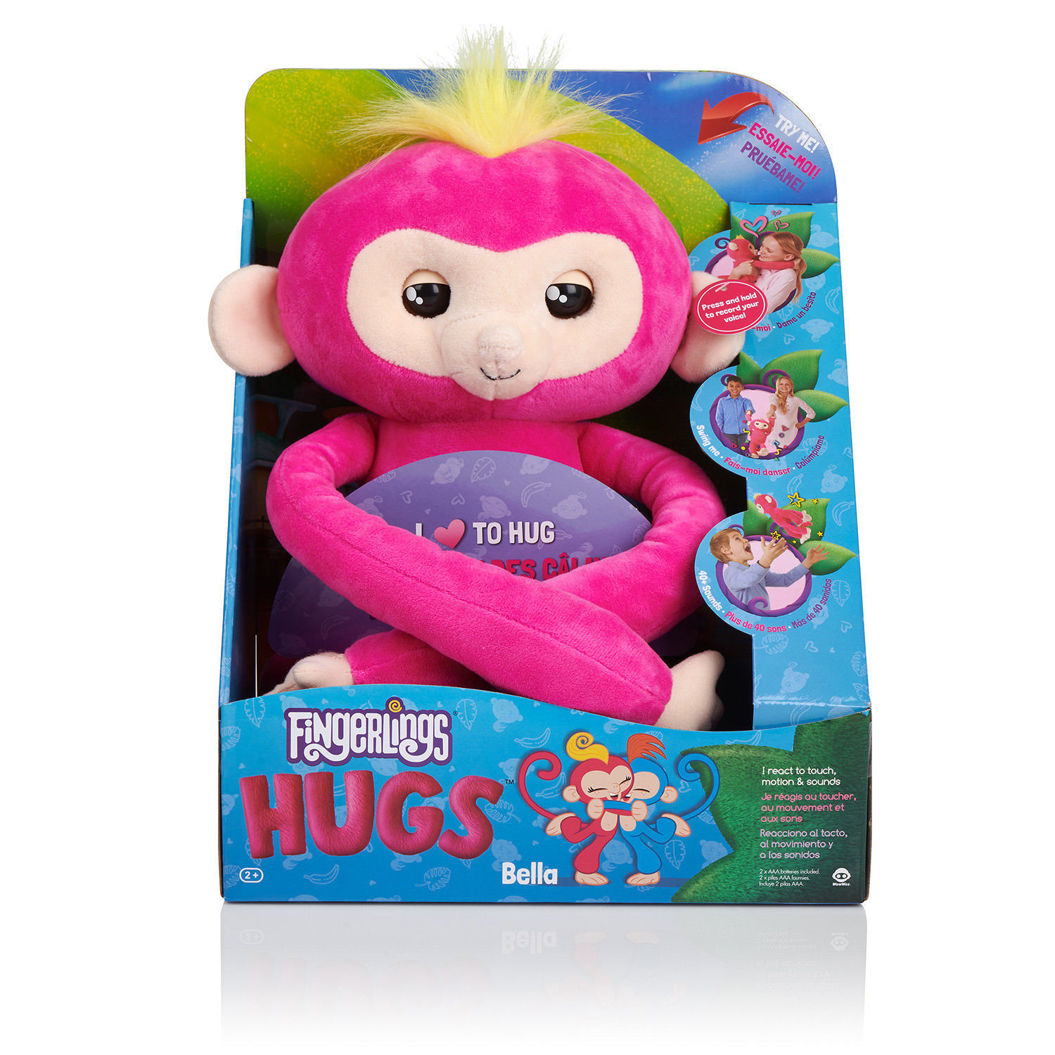 WooWee Fingerlings HUGS - BELLA - Friendly Interactive Plush Monkey Toy - pink
