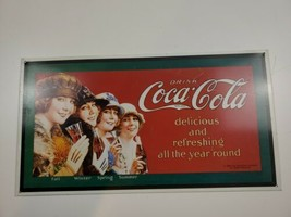 Vintage Metal Sign DRINK COCA-COLA 4 Ladies as Four Seasons 1993 - $20.81