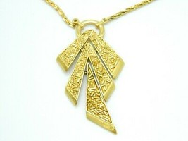 CROWN TRIFARI Modern Gold Tone Dangle Geometric Pendant Necklace Vintage - $64.34