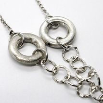 Necklace Silver 925, Chain Rolo ' , Circles Hanging, Worked and Hammered image 4