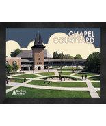 "Wartburg College ""Chapel Courtyard"" 13 x 16 Art Deco Framed Print  - $39.95"