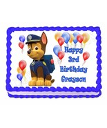 PAW PATROL CHASE edible party cake topper decoration frosting sheet image - $7.80