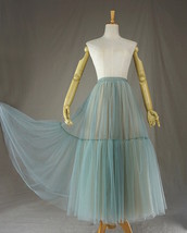Green Yellow Tiered Midi Tulle Skirt Puffy Tulle Midi Skirt Outfit image 7