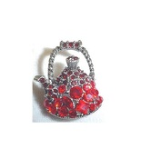 Pretty Red Crystal Studded Teapot Tea Pot BROOCH / PIN ~ Society Fun Red... - $6.95