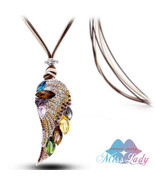 Magic Ikery New 2017  Rose Gold Color Crystal Luxury Feather Angel wings... - $13.19