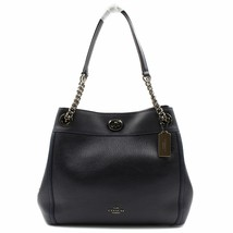 Coach Dark Navy Blue Pebbled Leather Women's Turnlock Edie Bag 36855 DKNY - $295.00