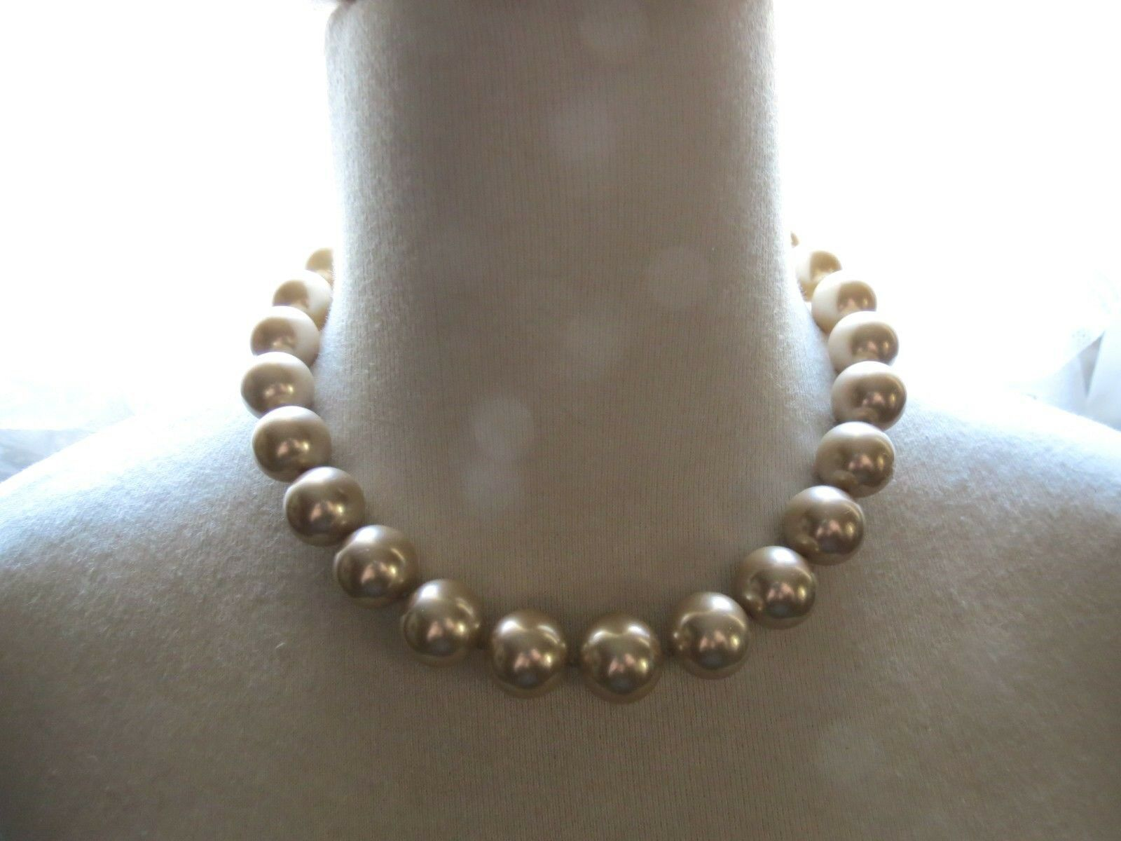 VTG Monet Big Pearl Necklace Hand Knotted Sable Cream Lobster 16mm Glass Beads image 3