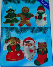 Sunrise FESTIVE FAVORITES 6 Felt Christmas ORNAMENTS - Kit #50-3900 - RA... - $18.52