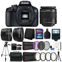 Canon EOS 4000D Rebel 18MP Digital SLR Camera + 18-55mm Lens + 32GB Bundle - $424.49