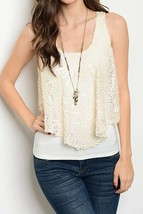 Shimmer Sequin Swing Top, Ivory Sparkle Sequin Tank, Womens Sequin Blouse