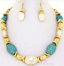 Womens Casual Cabo Turquoise White Howlite Gold Faux Stone Necklace Rustic Set - $6.49