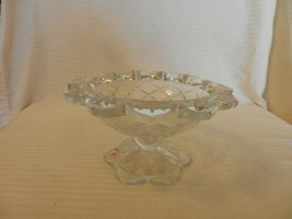 "Vintage Lead Crystal Pedestal Candy Bowl Thatch Pattern, 4"" Tall - $59.40"