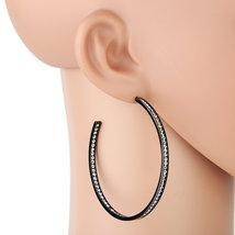 UNITED ELEGANCE Black Gun Metal Tone Hoop Earrings With Swarovski Style ... - $17.99