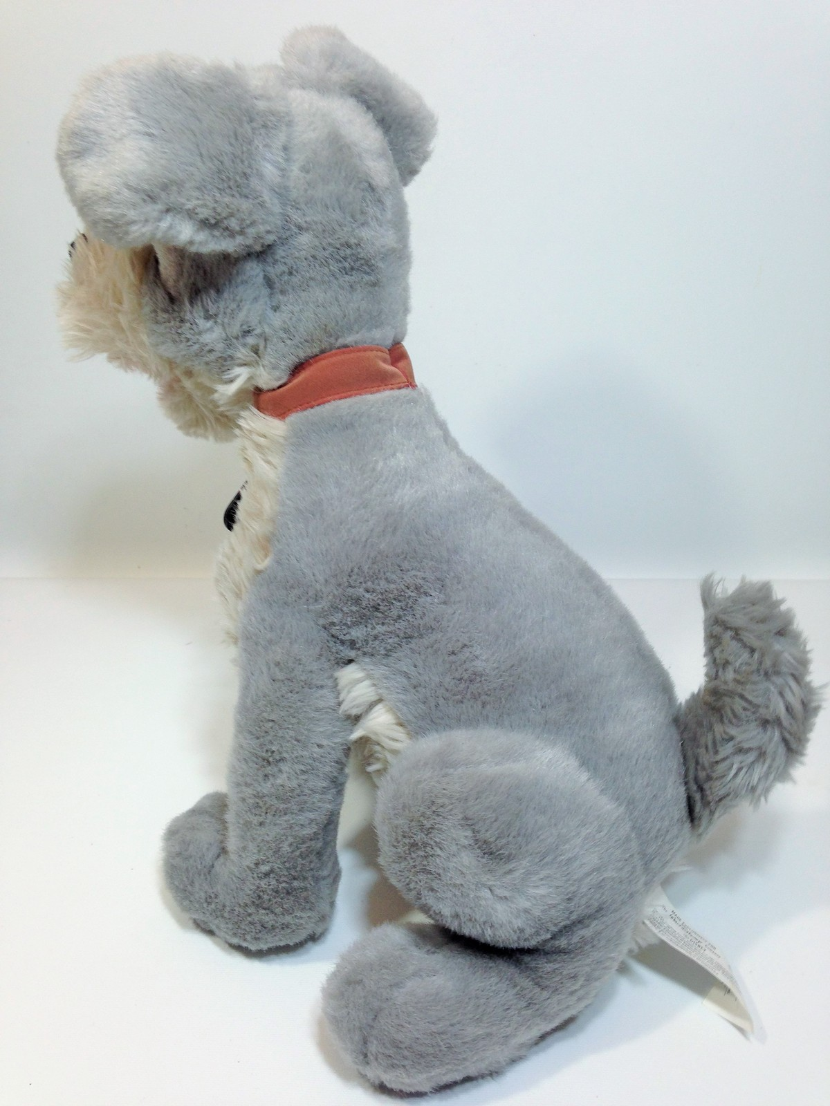 "Vintage Disney Tramp Plush Dog Grey Stuffed Animal Metal DogTag 14"" image 7"